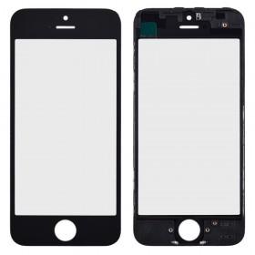 Стекло корпуса с рамкой и ОСА пленкой для iPhone 5,  цвет black