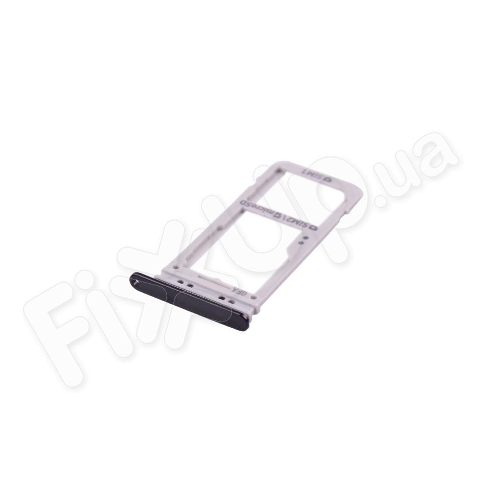 Держатель сим карты для Samsung G955F Galaxy S8 Plus, цвет черный, 2 Sim фото 1