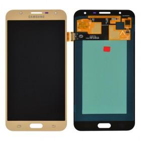 Дисплей Samsung J701H, J701F, J701M/DS Galaxy J7 Neo с тачскрином в сборе,  цвет золотой, без рамки, oled