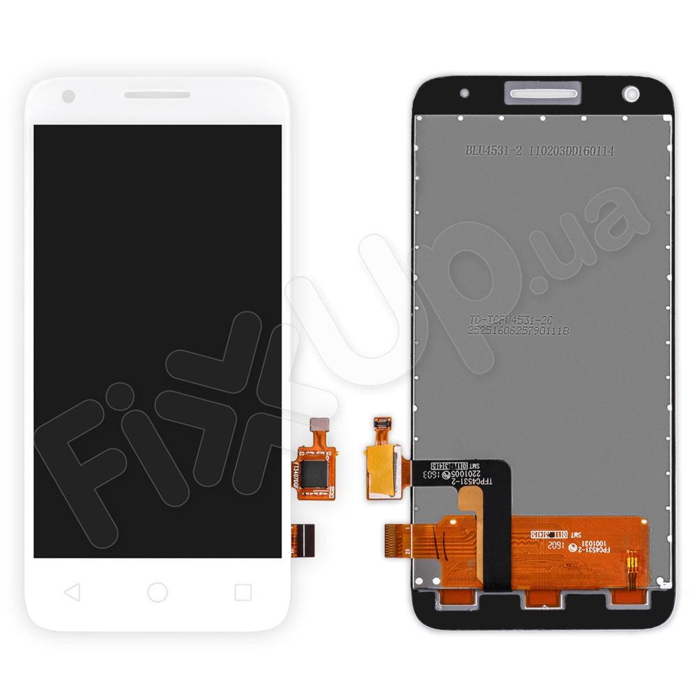 Дисплей Alcatel OneTouch Pixi 3 (4.5) Dual 4027D (5017D, 5017X) с тачскрином в сборе, цвет белый, большая микросхема фото 1