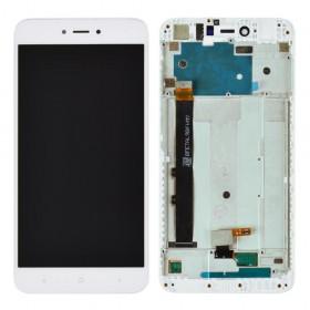 Дисплей Xiaomi Redmi NOTE 5A/Y1 Lite с тачскрином в сборе, с рамкой, оригинал,  цвет белый