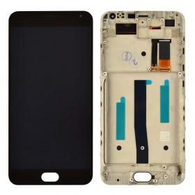 Дисплей Meizu M2 Note с тачскрином в сборе, оригинал, с рамкой,  цвет черный