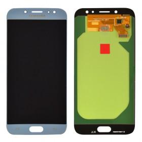 Дисплей Samsung J730F, J730H, J730M/DS Galaxy J7 (2017) с тачскрином в сборе, без рамки, оригинал замененное стекло,  цвет синий