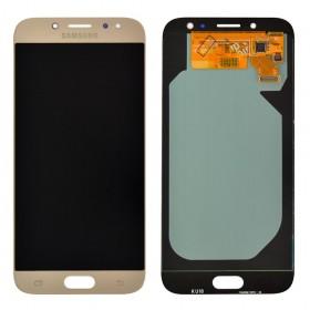 Дисплей Samsung J730F, J730H, J730M/DS Galaxy J7 (2017) с тачскрином в сборе, оригинал замененное стекло,  цвет золотой, без рамки