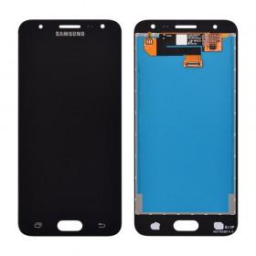 Дисплей Samsung G570F/DS J5 Prime с тачскрином в сборе (2016),  цвет черный, без рамки, оригинал замененное стекло