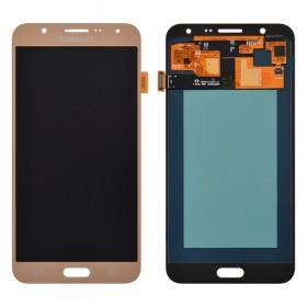 Дисплей Samsung J700H, J700F, J700M, DS Galaxy J7 (2015) с тачскрином в сборе, oled, без рамки,  цвет золотой