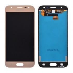 Дисплей Samsung J330 Galaxy J3 (2017) с тачскрином в сборе,  цвет золотой, оригинал замененное стекло, без рамки