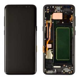Дисплей Samsung G950F, G950FD/DS Galaxy S8 (2017) с тачскрином в сборе,  цвет черный, оригинал замененное стекло, с рамкой