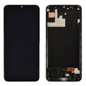 Дисплей для Samsung A307F DS Galaxy A30s (2019) с тачскрином в сборе,  цвет черный, с рамкой, оригинал замененное стекло