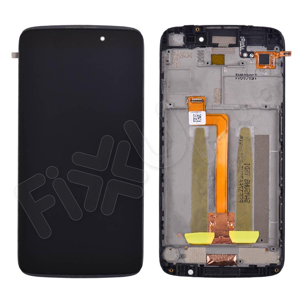 Дисплей для Alcatel 6045 One Touch Idol 3 с тачскрином и рамкой, цвет черный фото 1