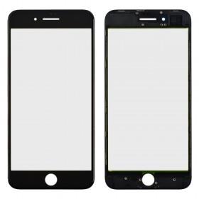 Стекло корпуса для iPhone 8 Plus,  цвет black, с рамкой