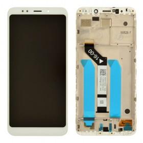 Дисплей для Xiaomi Redmi 5 Plus с таскрином в сборе,  цвет белый, с рамкой, копия высокого качества