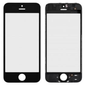 Стекло корпуса для iPhone 5, с рамкой,  цвет black