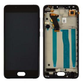 Дисплей Meizu U10 с тачскрином в сборе,  цвет черный, копия высокого качества, с рамкой