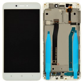 Дисплей Xiaomi Redmi 4X с тачскрином в сборе,  цвет белый, с рамкой, копия высокого качества