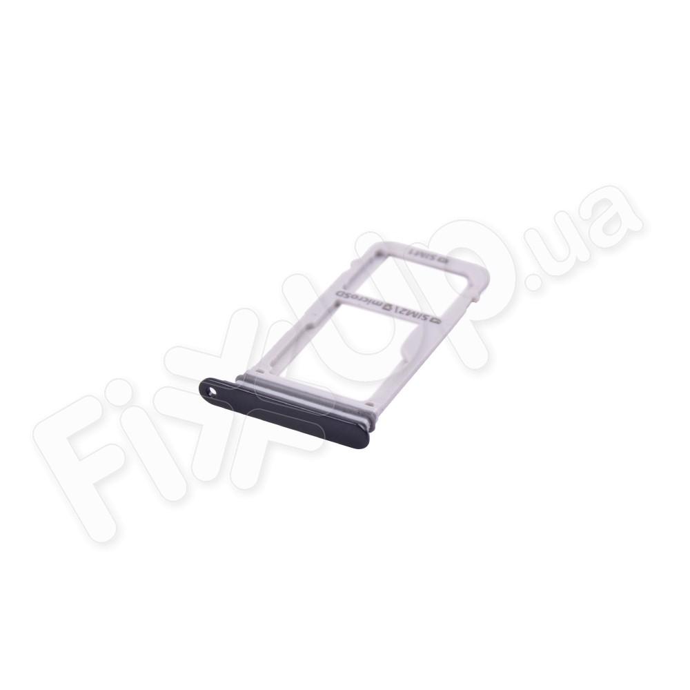 Держатель сим карты + MMC для Samsung A320F, A520, G930F, G935F, G950F, G955F, N930, N950 Galaxy A3 (2017), цвет черный фото 1