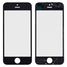 Стекло корпуса с рамкой и ОСА пленкой для iPhone 5S,  цвет black