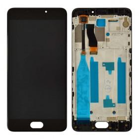 Дисплей Meizu M5 Note с тачскрином в сборе, копия высокого качества,  цвет черный, с рамкой