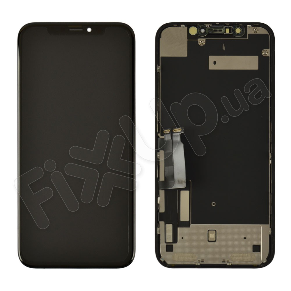 Дисплей для iPhone XR (6.1) с тачскрином в сборе, цвет черный, оригинал с разбора фото 1