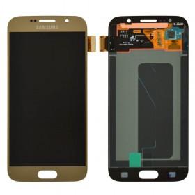 Дисплей для Samsung G920F Galaxy S6 (2015) с тачскрином в сборе, без рамки, оригинал замененное стекло,  цвет золотой